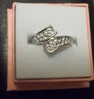 18K white GOLD Clad Eternity Ring size 6