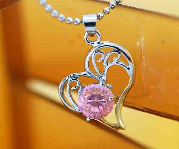 18K Gold Electroplated Heart with Pink Cubic Zirconia Necklace