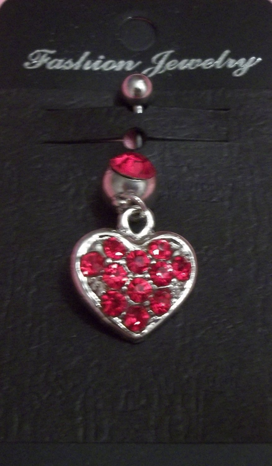 **Gorgeous RED heart rhinestone belly dangle 14 G