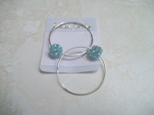 **Cute Silver Plated hoops with Blue Disco ball bead