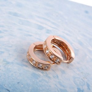 **9K Rose Gold Layered Hoops with Simulated Diamonds