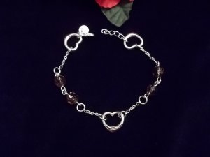 925 SILVER Floating Hearts & Crystal Bead Bracelet