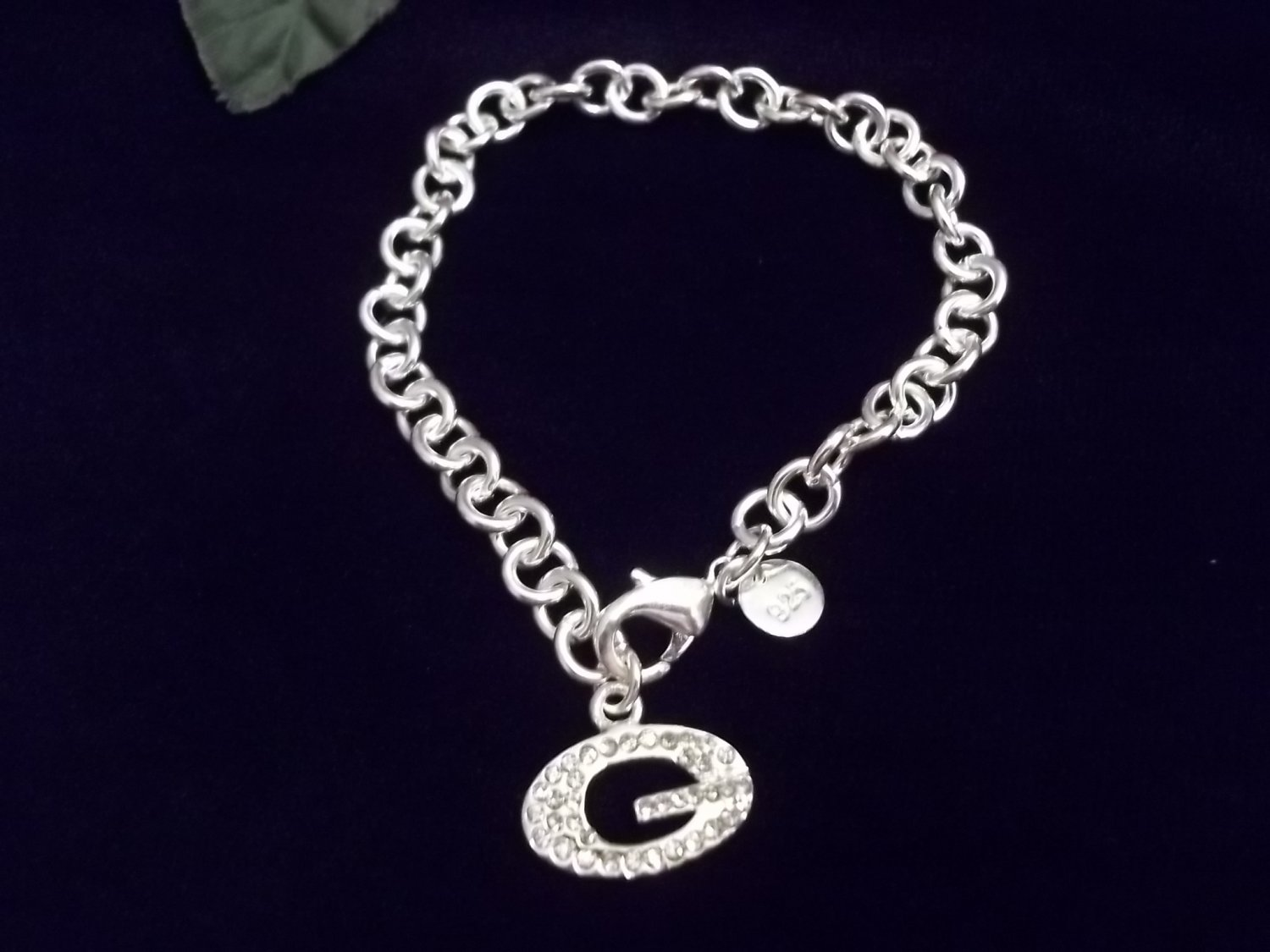"*925 Silver Crystal Initial ""G"" Bracelet"