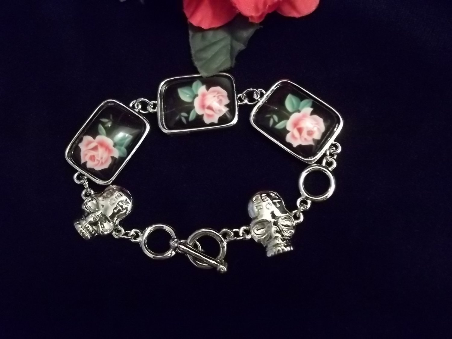 Unique Smooth Square Rose and Skull Toggle Bracelet