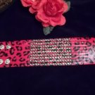 **Red Leopard print Rhinestone Leather Bracelet