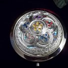 Fancy Silver Tone Compact Mirror with Rhinestones