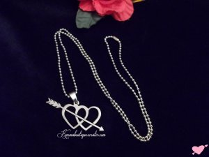 Stunning STAINLESS STEEL Pierced Heart Necklace