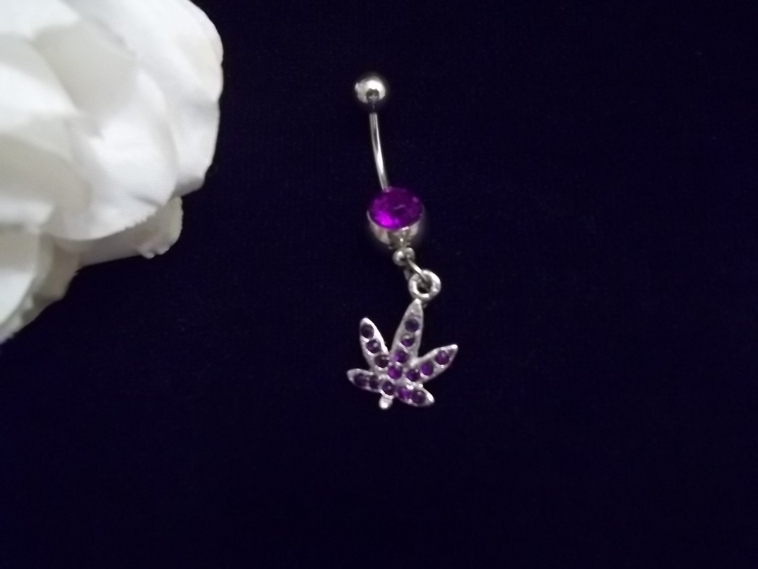 *Violet weed belly button piercing 14G