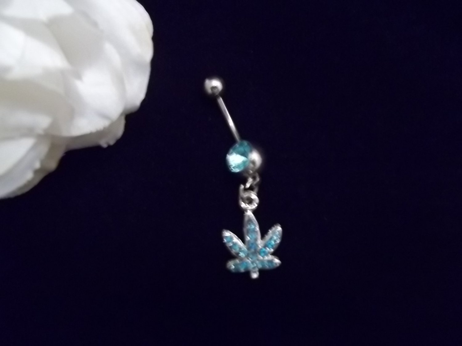 ** Ice Blue weed belly button piercing 14G