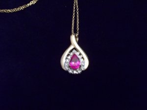 Beautiful 14K /925 Sterling Silver Simulated Pink Sapphire Necklace