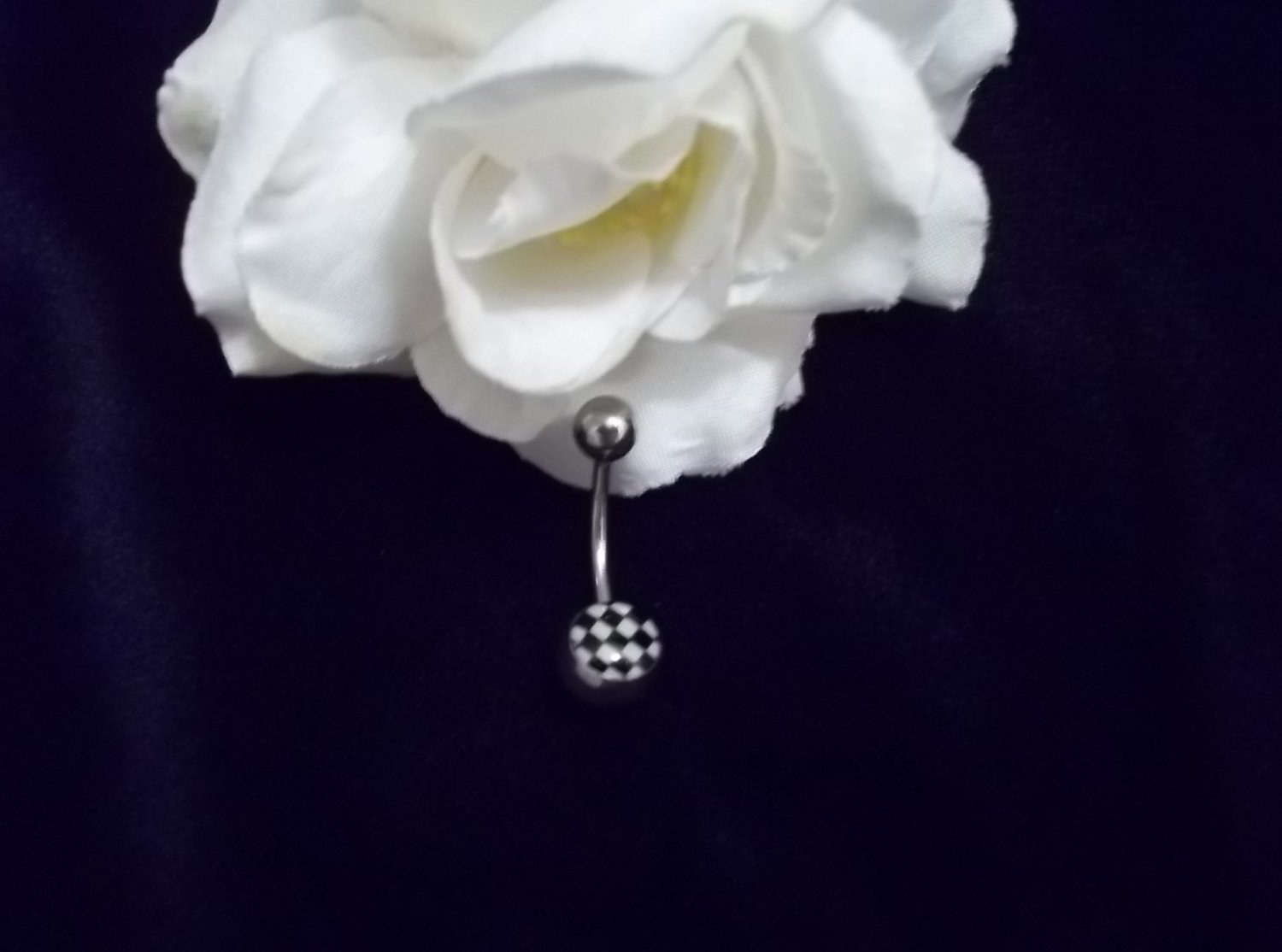** CHECKERED FLAG GLOW IN DARK BELLY RING**