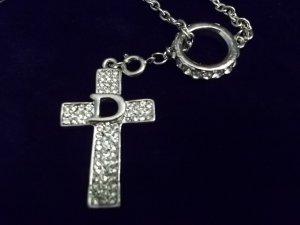 Beautiful Rhinestone Cross and Ring Necklace