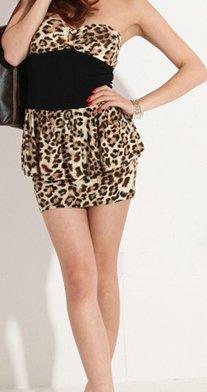 Sexy Leopard Print Strapless MiniDress **Must see**