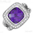 BEAUTIFUL 925 Sterling Silver/Amethyst CZ Cable  RING