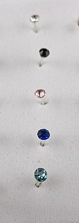 Single Crystal Nose Stud Assorted Colors 5Pack