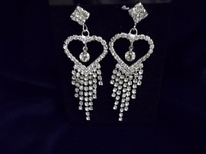 Stunning Crystal Heart Dangle Earrings