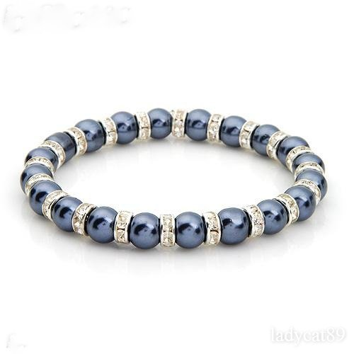 Gray Simulated Pearl and Crystal Stretch Bracelet