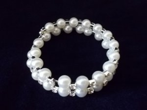 Two Row Pearl and Crystal Bracelet