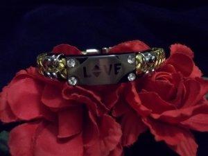 """LOVE"" Gold Braided Leather Bracelet"