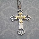 Fancy Stainless Steel Rhinestone Cross Necklace