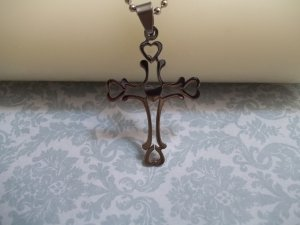 * Stainless Steel Heart Cross Necklace**