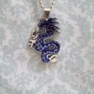BLUE STAINLESS STEEL DRAGON NECKLACE
