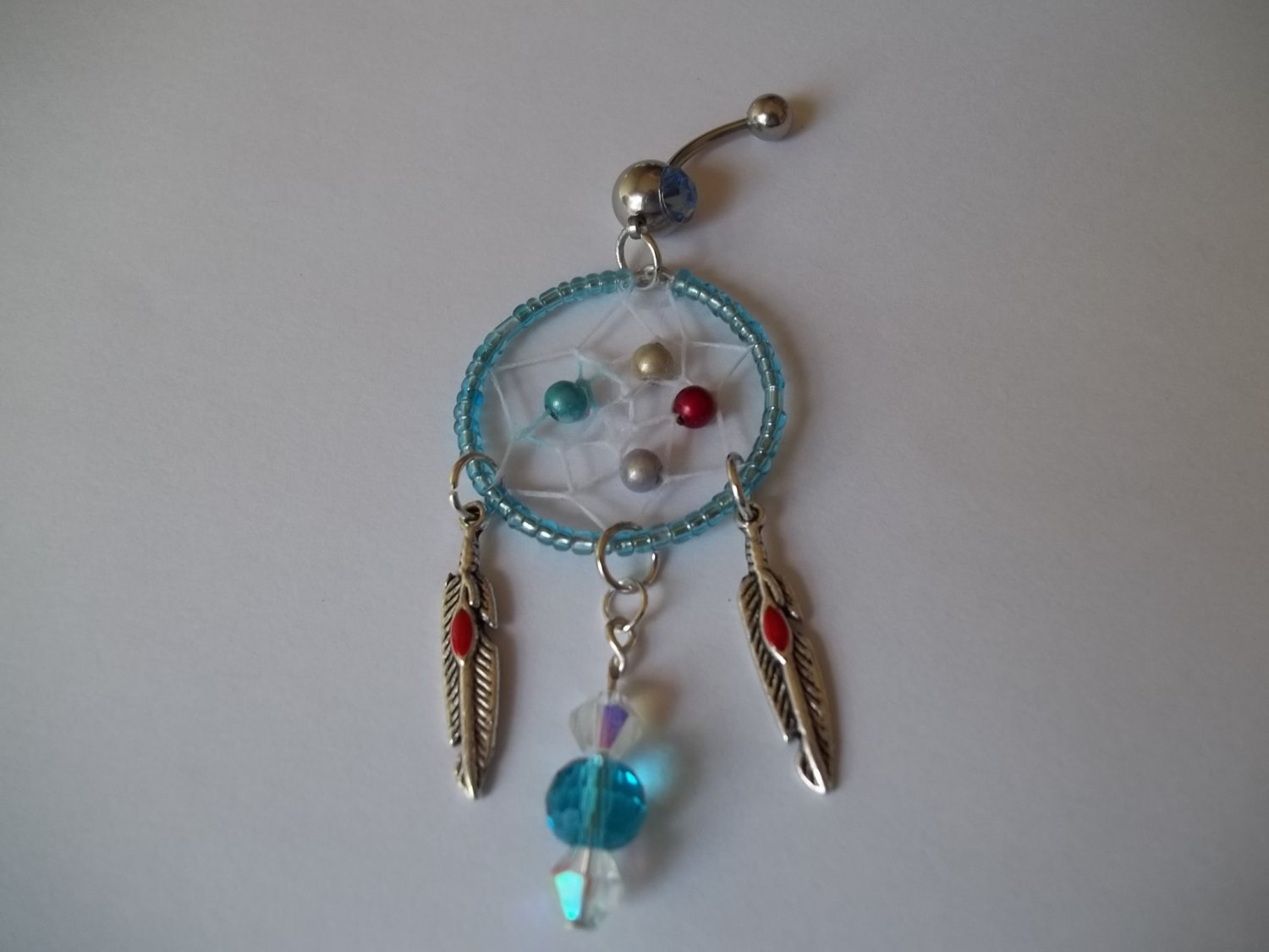 Blue Bead Dream Catcher Belly Ring