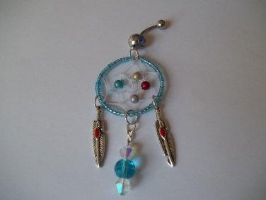 Blue Bead Dream Catcher Belly Ring