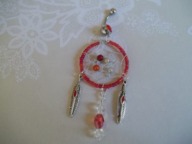 *Red Bead Dream Catcher Belly Ring*