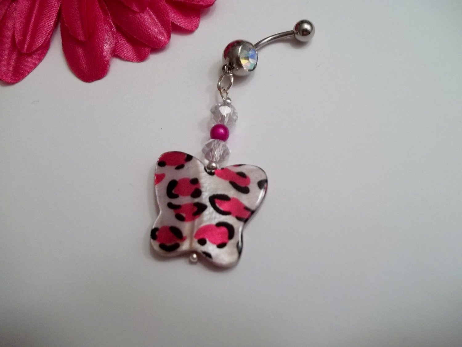 Butterfly Shell Bead Belly Ring