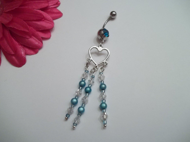 Blue Dangle Heart Glow Belly Ring