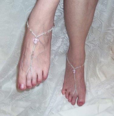 Pink Glass Heart Barefoot Sandals