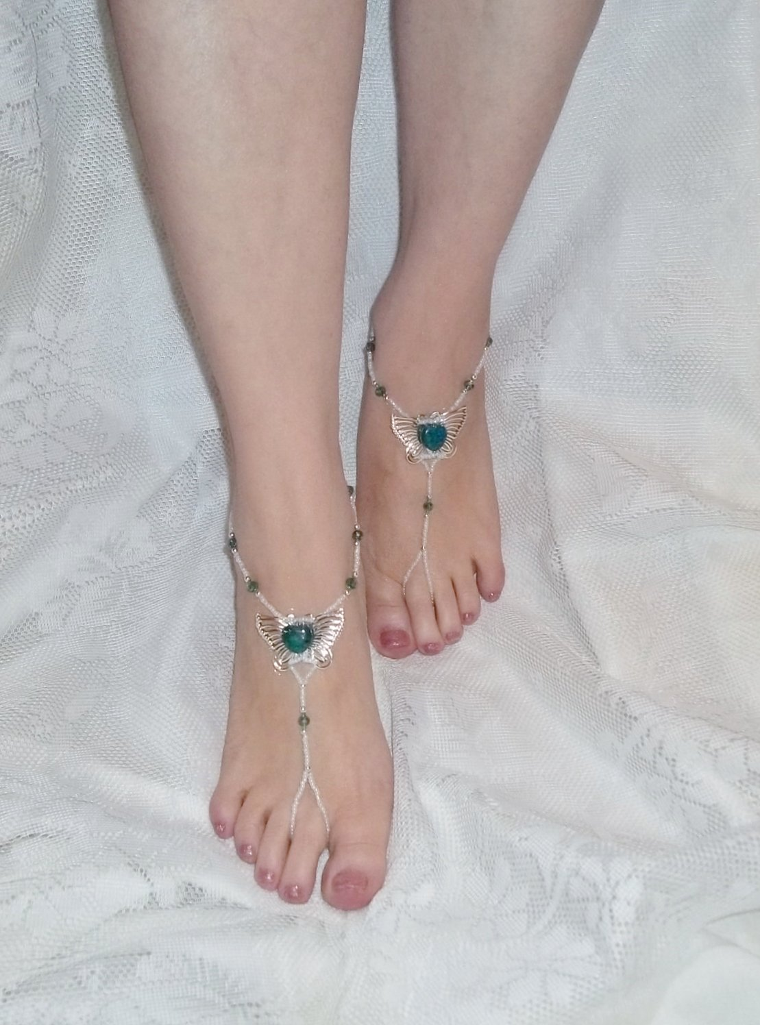 Azurite Butterfly Barefoot Sandals  Size 6-9