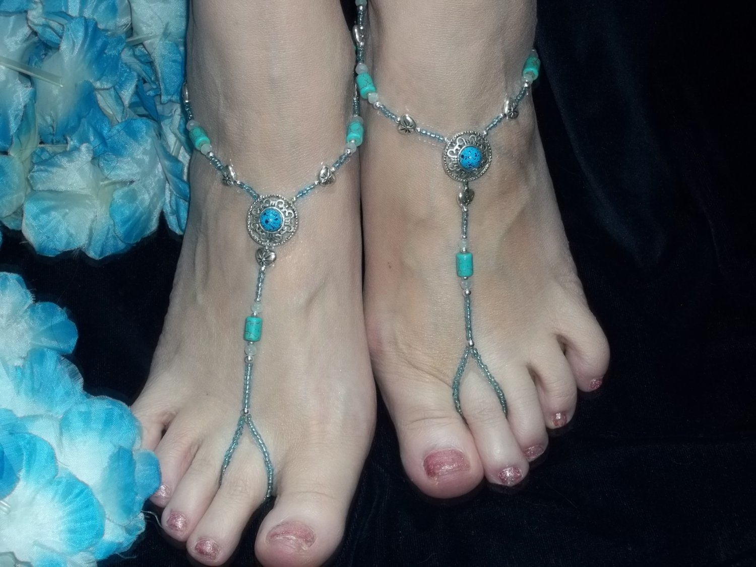 Turquoise Bead Barefoot Sandals