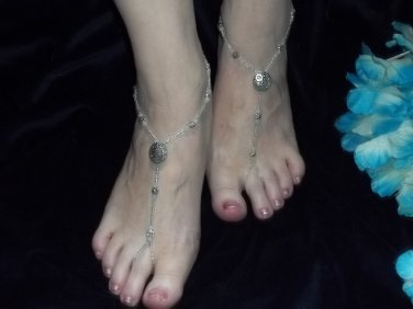 Daisy and White Crystal Barefoot Sandals