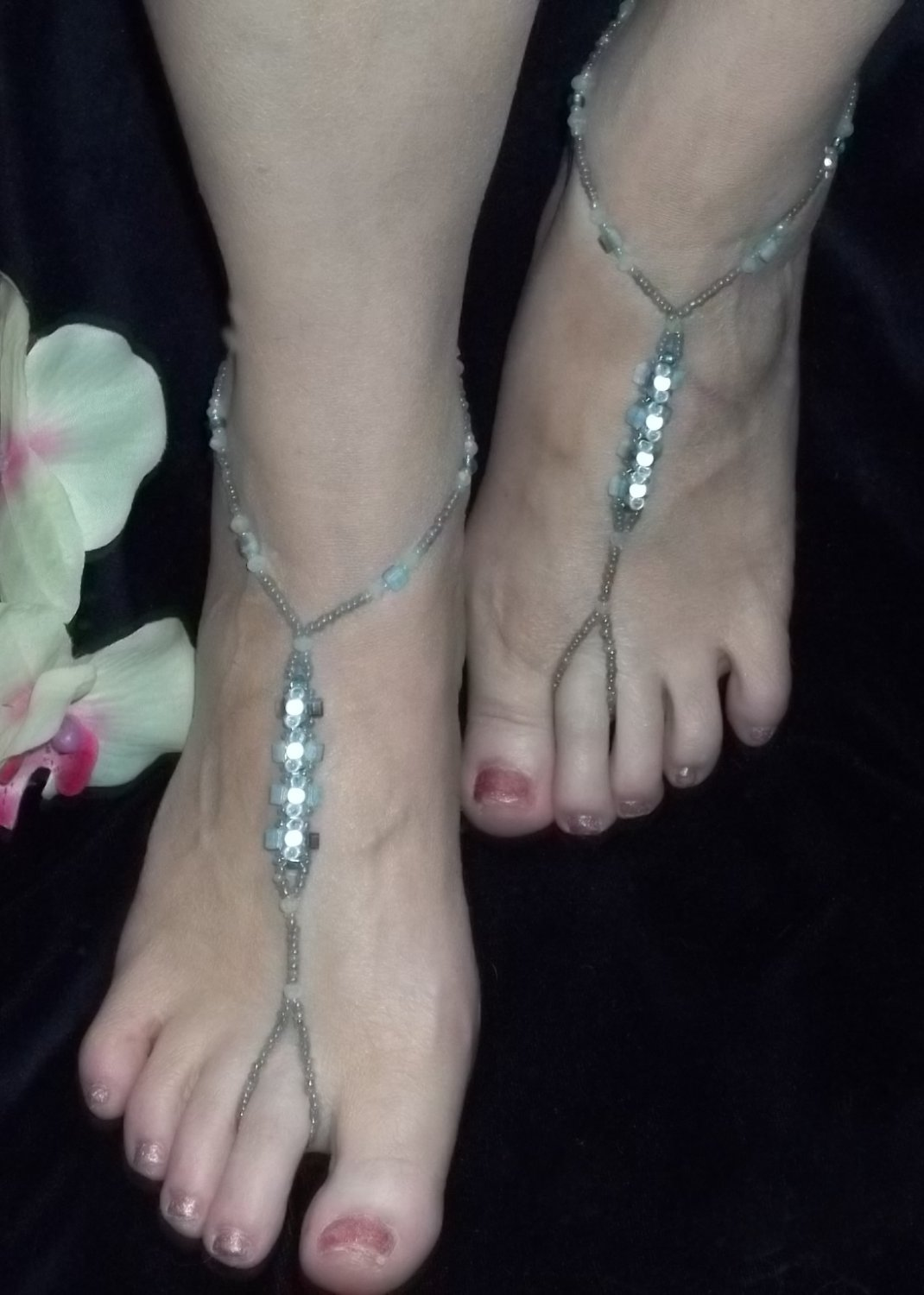 Blue Cube and Glow Bead Barefoot Sandals