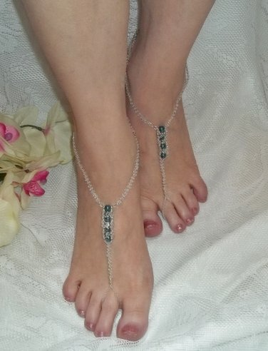 Teal Pearl and Daisy Barefoot Sandals