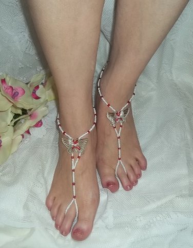Red and White Butterfly Barefoot Sandals