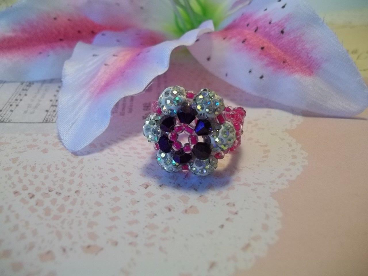 Shamballa / Disco Ball  Flower Beaded  Ring  Size 6-7