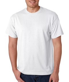 Three Color Print - Double Sided, Size S, 50/50 Blend, 5.6 oz  White TShirt