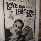Love & Larceny 1 sht Movie Poster Love and Larceny 1963