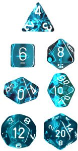 Chessex Translucent Teal with White 7-dice Polyhedral RPG Dice Set