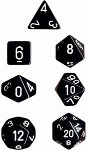 Chessex Opaque Black with White 7-dice Polyhedral RPG Dice Set