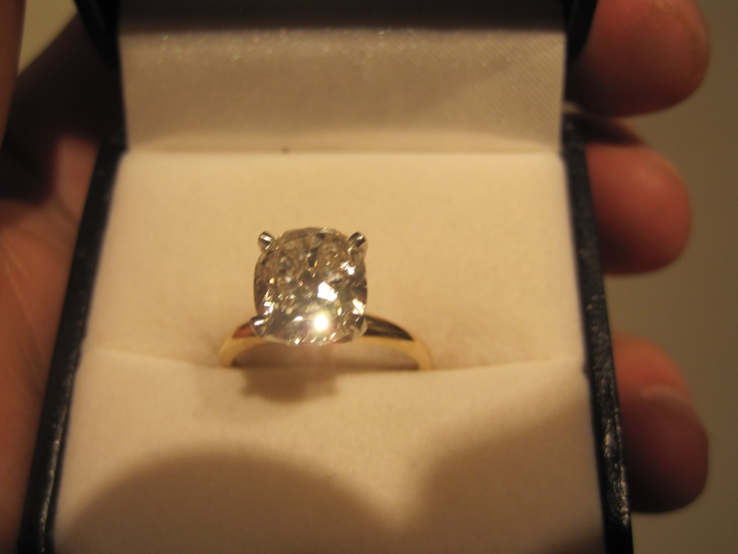 3ct Cushion Diamond Solitaire 14k Gold Engagement Ring