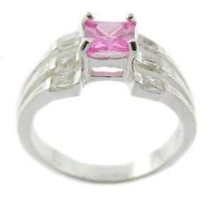 STUNNING CREATED PINK & DIAMOND STERLING 925 SILVER RING