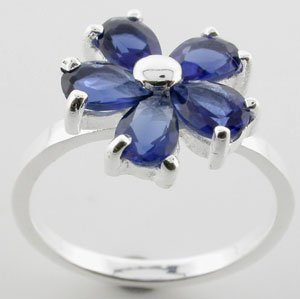 WONDERFUL CREATED BLUE SAPPHIRE STERLING 925 SILVER RING