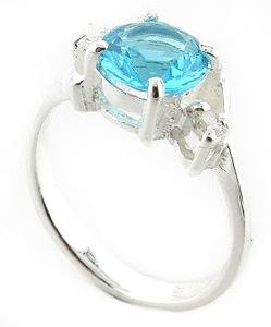 PRETTY 925 STERLING SILVER RING WITH CREATED  DIAMOND & BLUE TOPAZ
