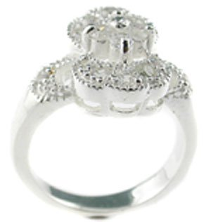 ATTRACTIVE 925 SILVER RING WITH CREATED  DIAMOND