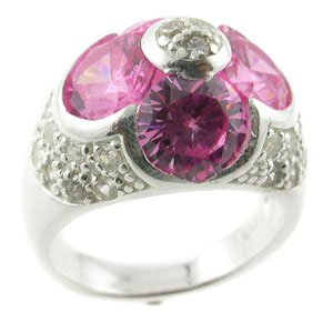 FASHIONABLE CREATED PINK & DIAMOND STERLING 925 SILVER RING