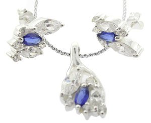 SPECIAL CREATED DIAMOND & BLUE SAPPHIRE 925 STERLING SILVER JEWELRY SET